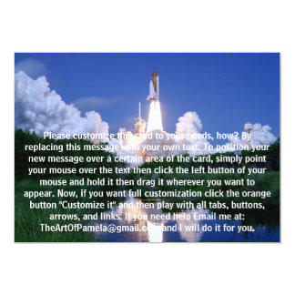 """Launch of Space Shuttle 5"""" X 7"""" Invitation Card"""