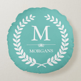 Laurel Wreath Monogram Soft and Pastel Teal Blue Round Cushion