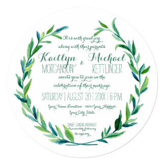 Laurel Wreath Olive Leaf Branch Modern Round Card