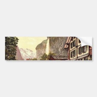 Lauterbrunnen Valley, street view with Staubbach W Bumper Sticker