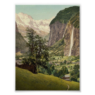 Lauterbrunnen Valley with Staubbach Waterfall, Ber Poster
