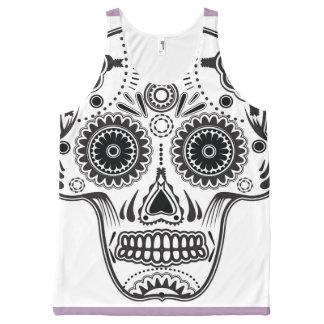 Lavender and Black Sugar Skull Tank Top - Unisex