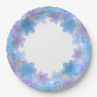 Lavender and Blue Floral Wedding Paper Plates 9 Inch Paper Plate