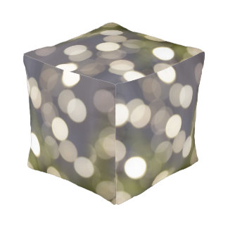 Lavender and Green with White Sparkles Cube Pouf