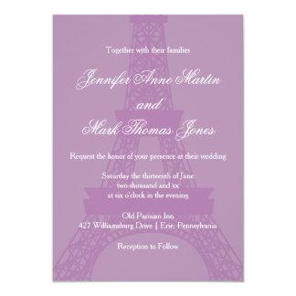 Lavender and Purple Paris Eiffel Tower Wedding 13 Cm X 18 Cm Invitation Card