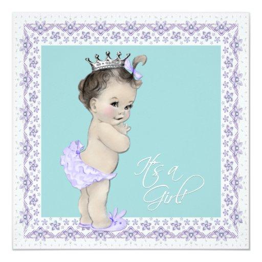 Vintage Baby Shower Invitations Girl: Lavender And Teal Blue Vintage Baby Girl Shower 13 Cm X 13