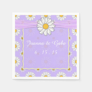 Lavender and White Daisy Floral Wedding Napkins Disposable Napkin