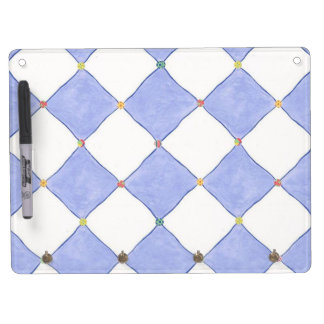 Lavender and White Harlequin Print Dry Erase Dry Erase Board With Key Ring Holder