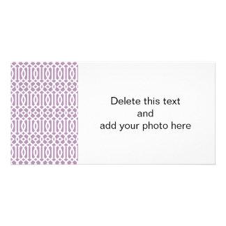 Lavender and White Modern Trellis Pattern Photo Card