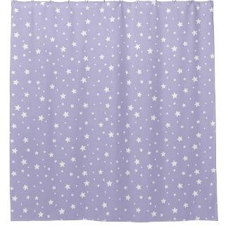 Lavender and White Stars Celestial Sky Shower Curtain