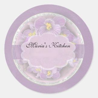Lavender Crocuses Spice Jar Labels Round Sticker