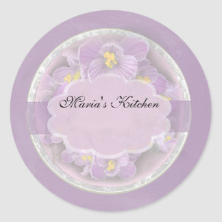 Lavender Crocuses Spice Jar Labels Stickers
