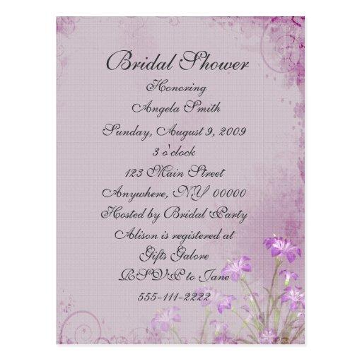 Lavender Floral Bridal Shower Invitation Post Cards