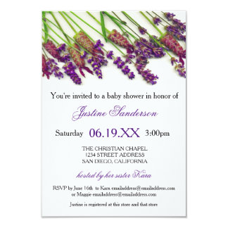 Lavender Flowers - 3x5 Baby Shower Invitation