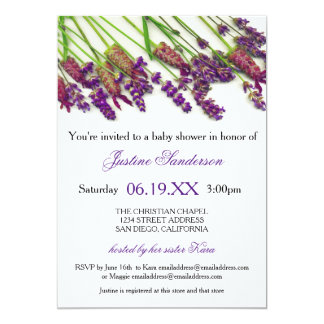 Lavender Flowers - Baby Shower Invitation