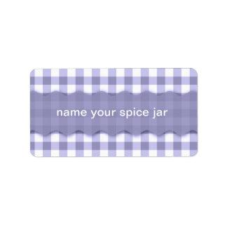 Lavender Gingham Checkered Design Kitchen Label Address Label
