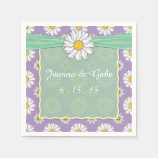 Lavender Green White Daisy Floral Wedding Napkins Disposable Napkin