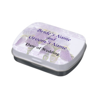 Lavender Iris Couple Wedding Supplies Jelly Belly Candy Tin