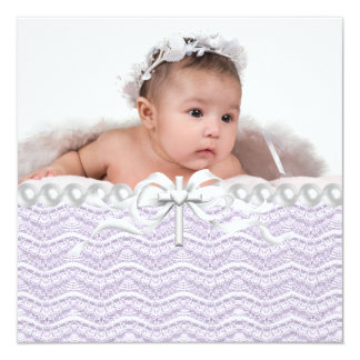 Lavender Lace Pearl Cross Christening Card