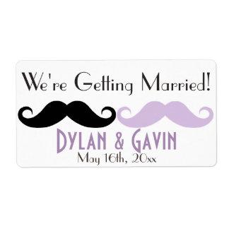 Lavender Mustache Gay Wedding Shower Water Bottle Shipping Label
