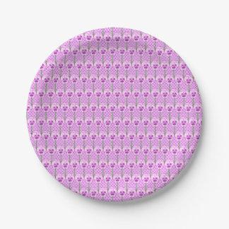 Lavender pansies - retro wallpaper pattern 7 inch paper plate