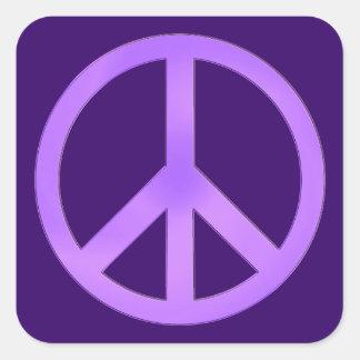 Lavender Peace Symbol Square Sticker