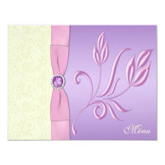 Lavender, Pink, and Ivory Menu Card 11 Cm X 14 Cm Invitation Card