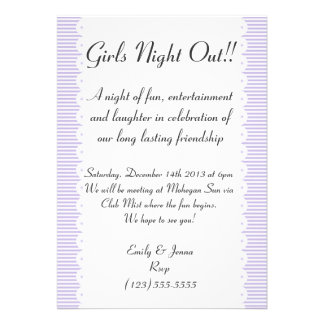 Lavender Pinstripes Girls Night Out Invitation