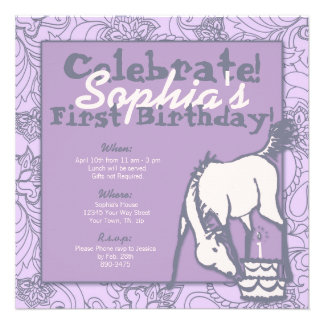 Lavender Pony Girl s First Birthday Personalized Invite