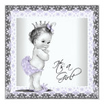 Lavender Purple and Grey Vintage Baby Girl Shower Custom Invitation