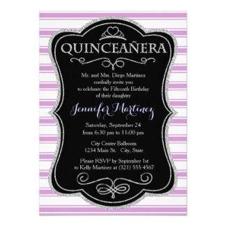 Lavender Purple and White Stripes Striped Announcement