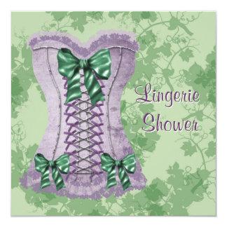 """Lavender Purple Corset Purple & Green Bridal Showe 5.25"""" Square Invitation Card"""