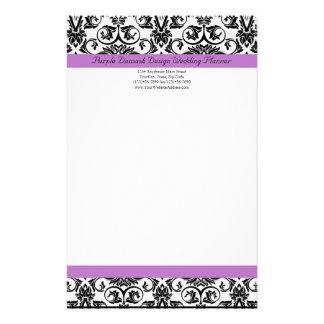 Lavender Purple Damask Black/White Stationery