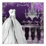 Lavender Purple Roses Chandelier Quinceanera 13 Cm X 13 Cm Square Invitation Card