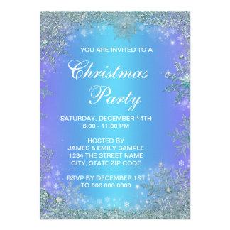 Lavender Purple Teal Blue Snowflake Christmas Invitation