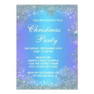 Lavender Purple Teal Blue Snowflake Christmas 4.5x6.25 Paper Invitation Card
