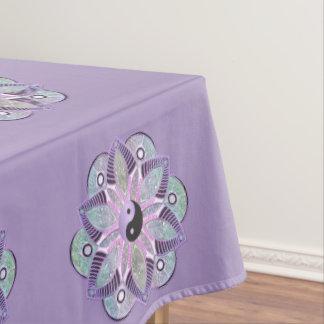 Lavender Purple Yin Yang Lotus Flower Mandala Tablecloth