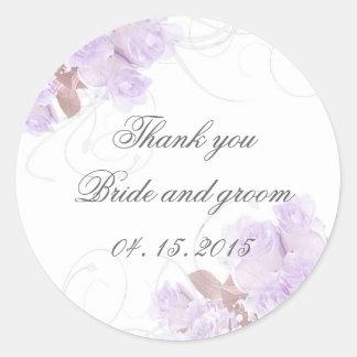 Lavender rose swirls wedding invitations round sticker