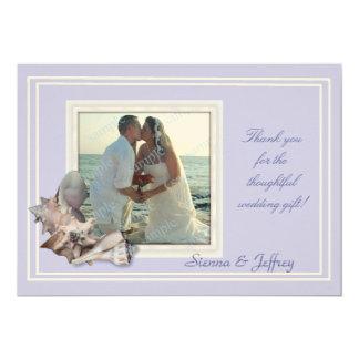 Lavender Seashell Wedding Photo Thank You 13 Cm X 18 Cm Invitation Card