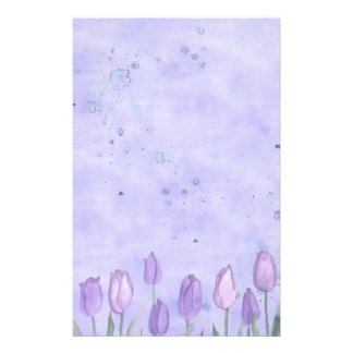 Lavender Tulips Watercolor Flower Pastel Stationery