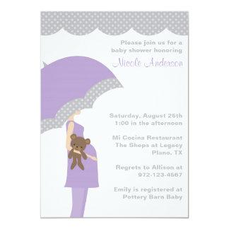 Lavender Umbrella Baby Shower Invitations