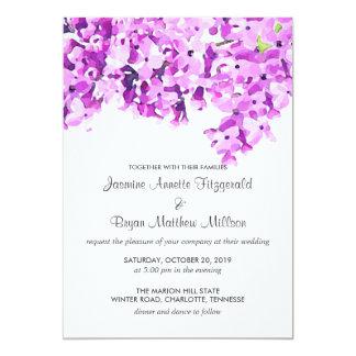Lavender Watercolor Flowers Modern Wedding Card