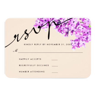 Lavender Watercolor Flowers Wedding RSVP Modern Card
