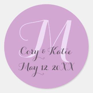 Lavender Wedding Monogram Stickers