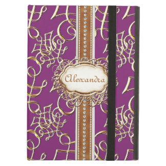 Lavish Elegant Gold Look Calligraphic Swirl Jewels iPad Air Cover