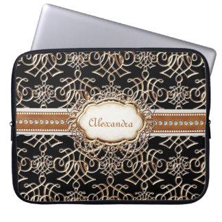 Lavish Elegant Gold Look Calligraphic Swirl Jewels Laptop Sleeve