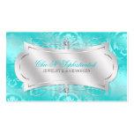 Lavish Teal Diamond Damask Swirl Pack Of Standard Business Cards