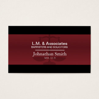 Law Business Card - Red & Black Lawyer Attorney
