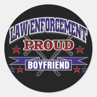 Law Enforcement Proud Boyfriend Classic Round Sticker