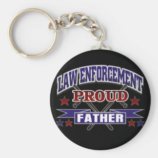 Law Enforcement Proud Father Basic Round Button Key Ring